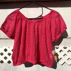 ❤️Glo Jeans lace crop top elastic NWT pink XL